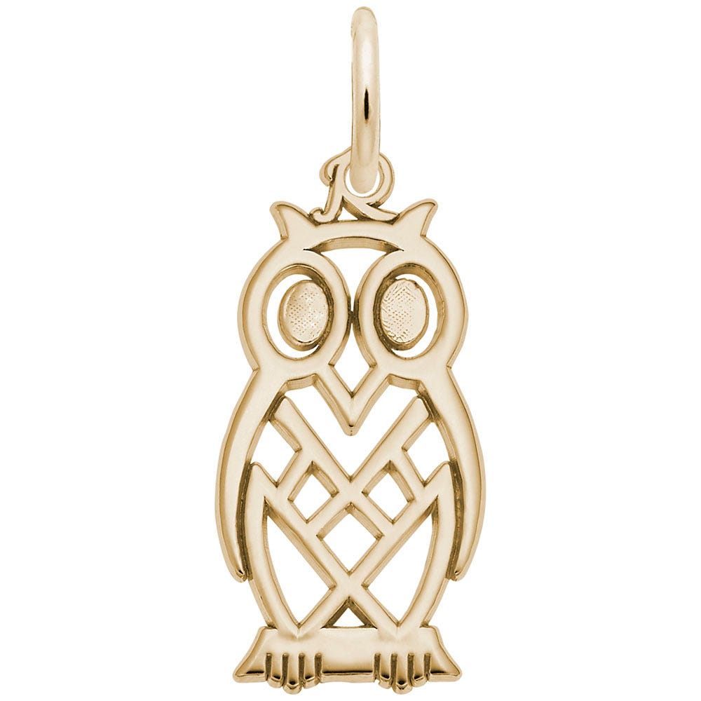 Owl Charm in 14K Yellow Gold