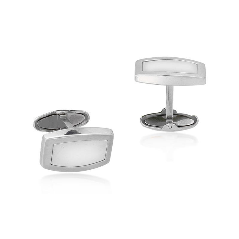 Satin Polish Stainless Steel & Sterling Silver Cufflinks