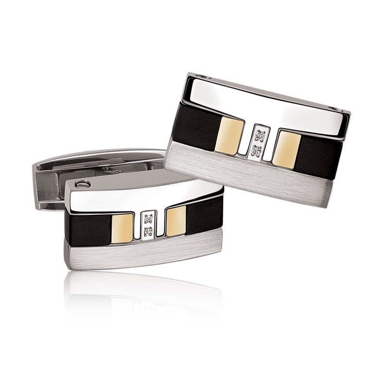 Diamond Accent Cufflinks in Stainless Steel & 18k Gold