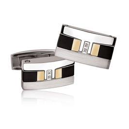 Diamond Accent Cufflinks in Stainless Steel & 18k Gold