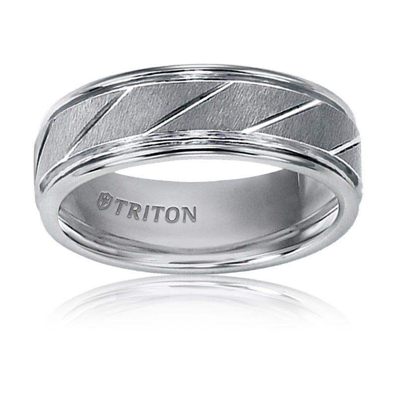 Triton Tungsten Bright Diagonal Cut Wedding Band
