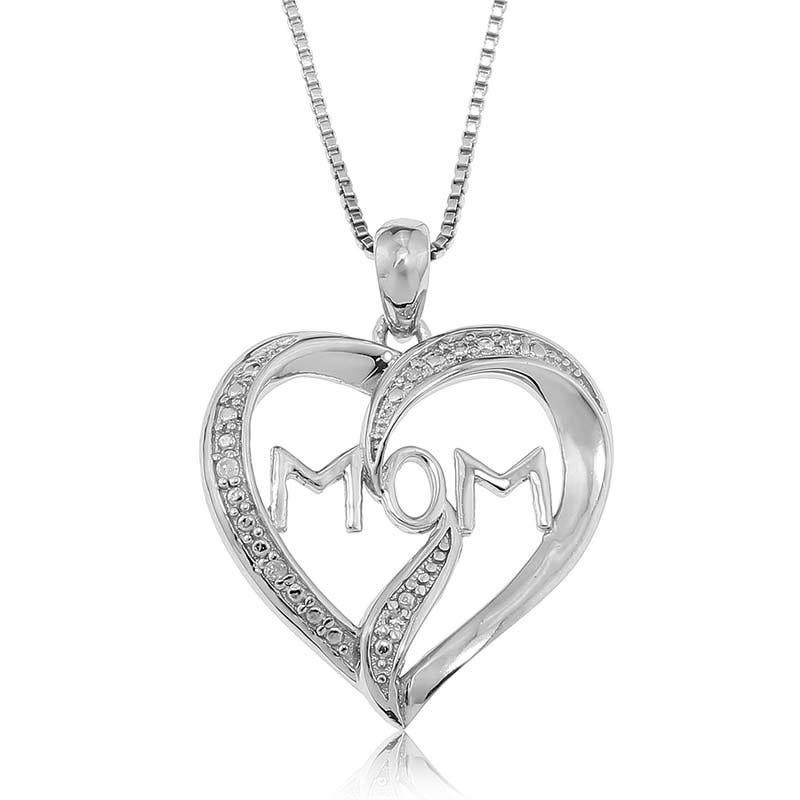 Diamond Heart 'Mom'  Pendant in Sterling Silver