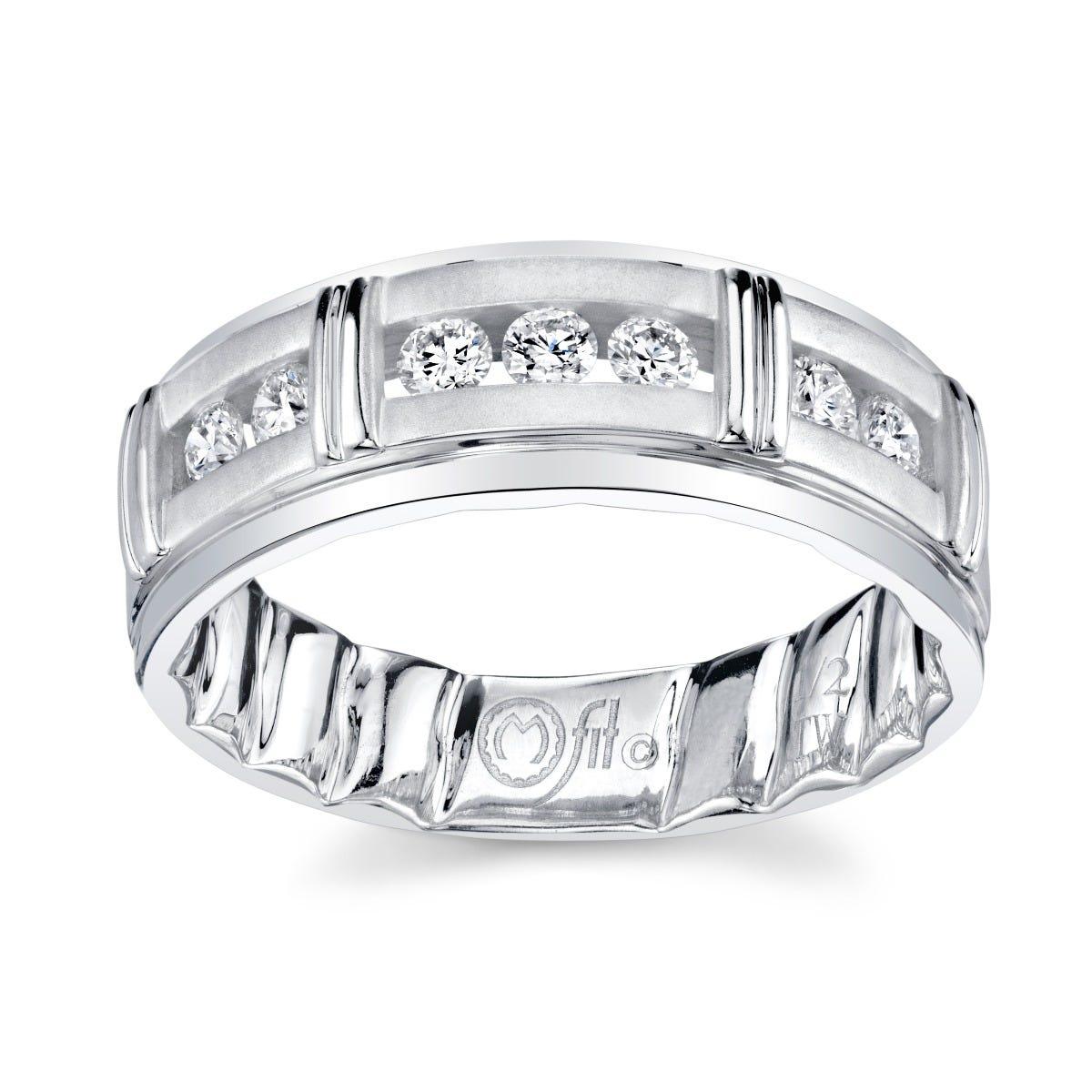 Men's MFIT Diamond Station Wedding Band ½ctw. in 14k White Gold
