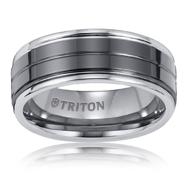 Triton Men's Black & White Tungsten Carbide Wedding Band