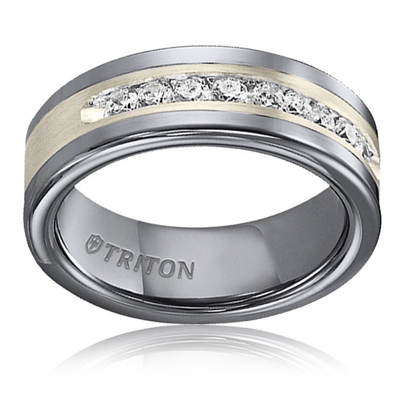 Triton Men's 1/2ctw. Diamond Steel Tungsten Carbide Band