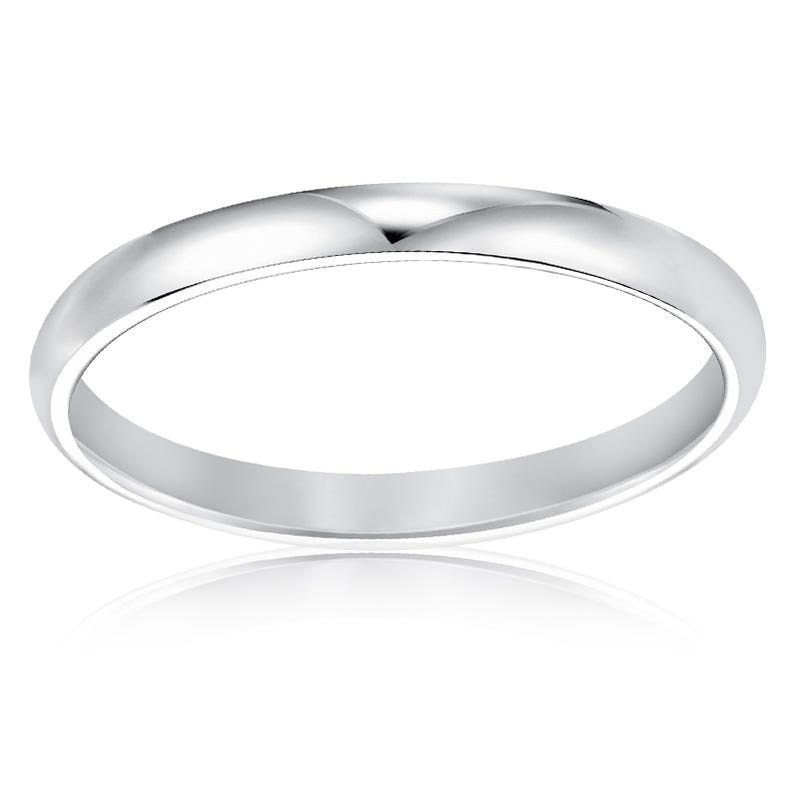 His or Hers Classic Wedding Band in 10kt White Gold. Size 7