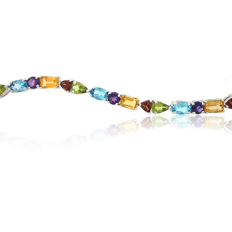 Genuine Multi-Stone Amethyst-Citrine-Blue Topaz-Garnet-Peridot Bracelet