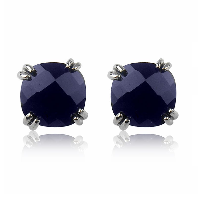 Created Sapphire Cushion-Cut Stud Earrings in Sterling Silver