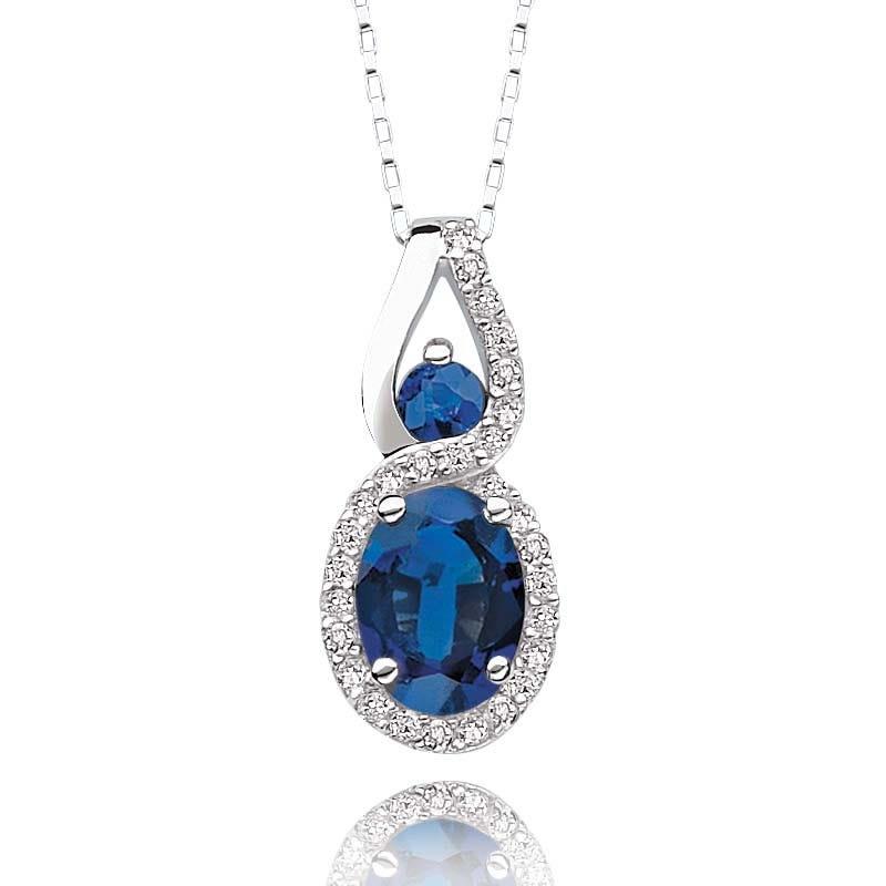 Oval Sapphire & Diamond Pendant