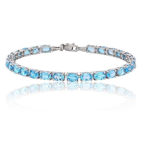 Oval Blue Topaz Bracelet in Sterling Silver