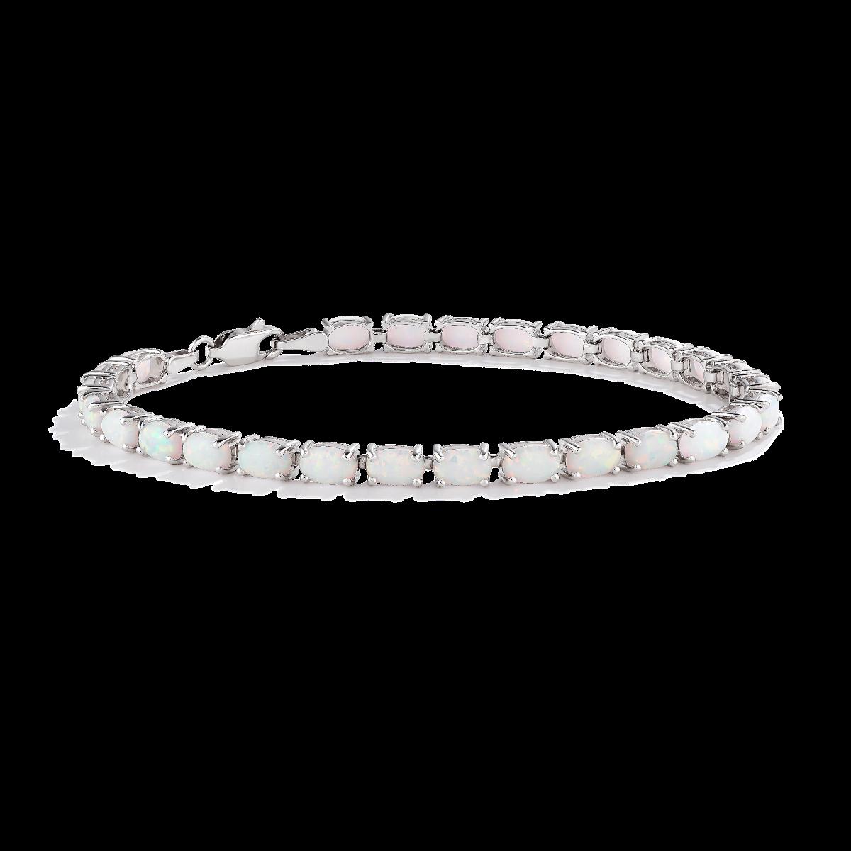 Opal Oval Tennis Sterling Silver Bracelet