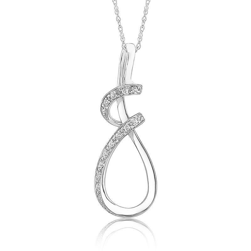 Freeform Diamond Pendant in Sterling Silver