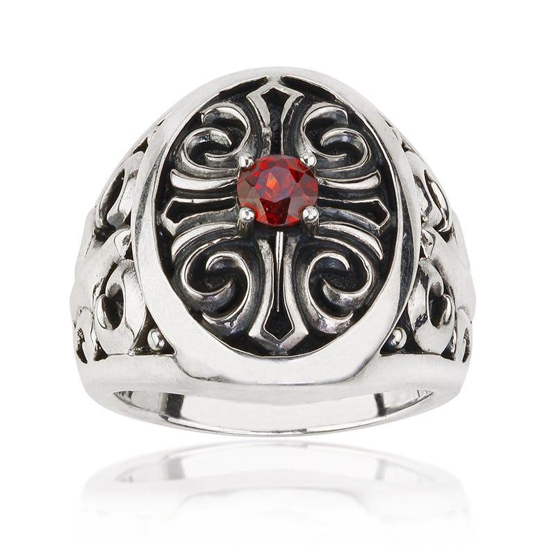 Men's Red Garnet Stone Ring
