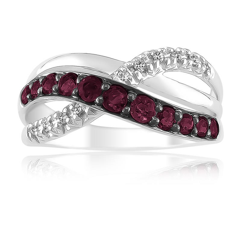 Ruby & Diamond Swirl Ring in 10k White Gold