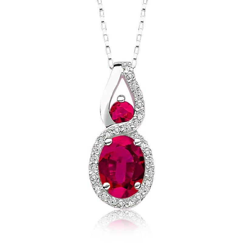 Oval Ruby & Diamond Pendant 10k White Gold