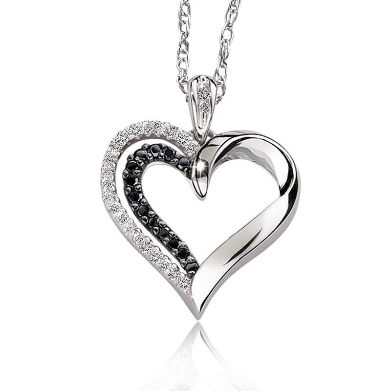 Black & White Diamond Heart Pendant in Sterling Silver
