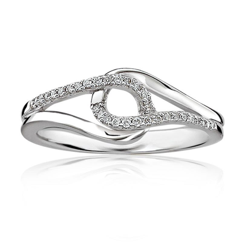 Love Knot Diamond Ring in Sterling Silver