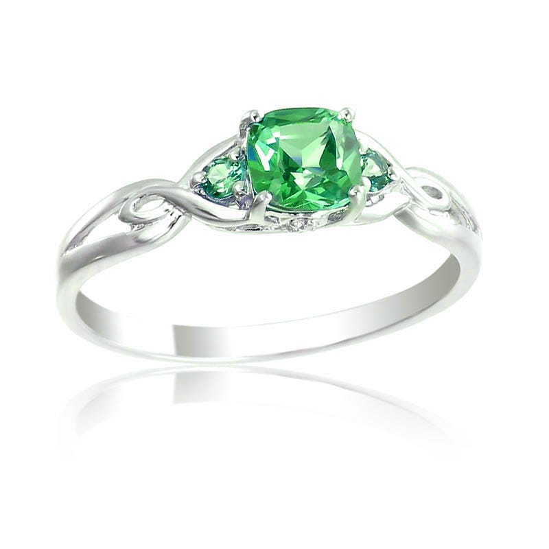 Created Emerald & Diamond Birthstone Ring Sterling Silver