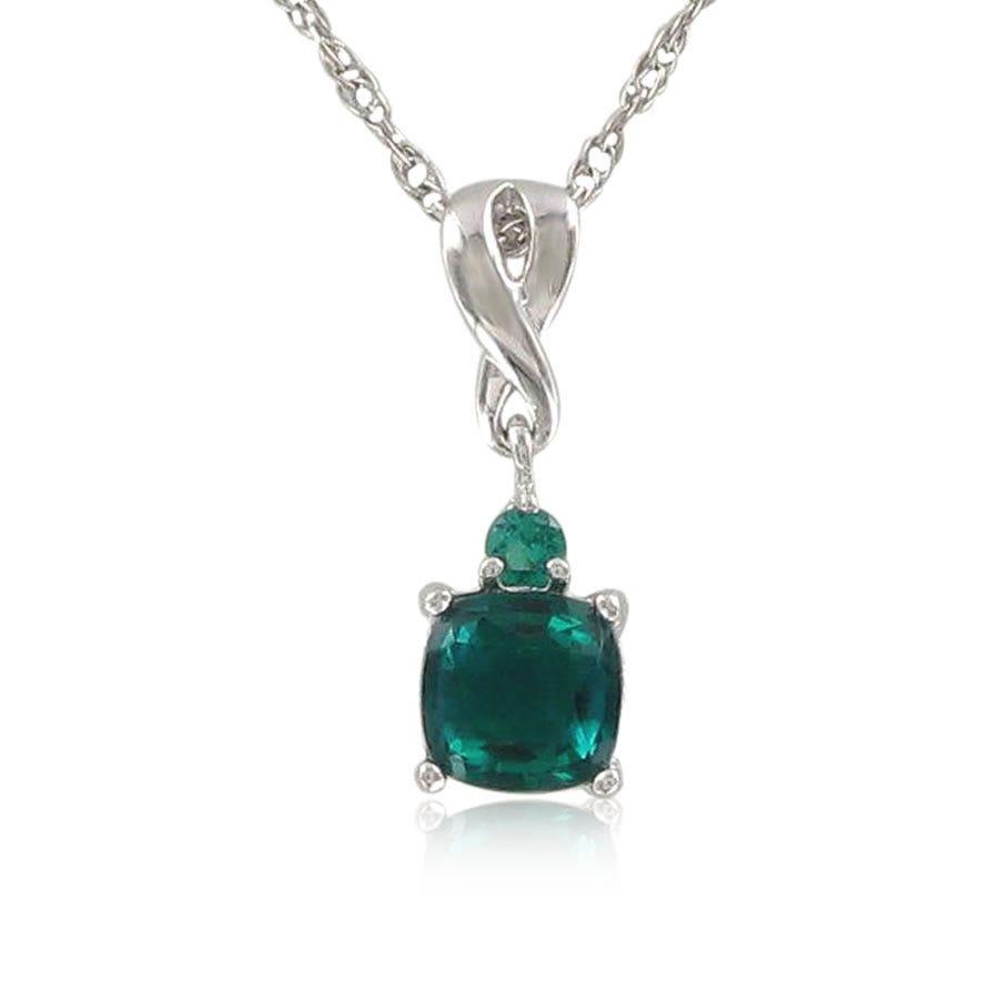 Created Emerald & Diamond Birthstone Pendant
