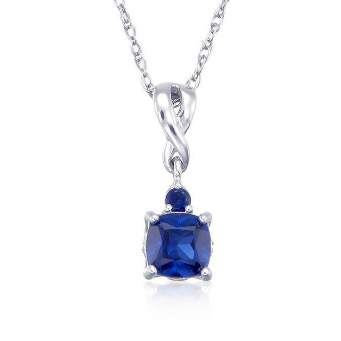 Created Sapphire & Diamond Birthstone Pendant