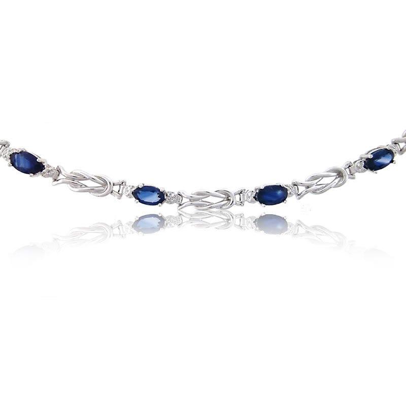 Blue Sapphire & Diamond Knot Bracelet
