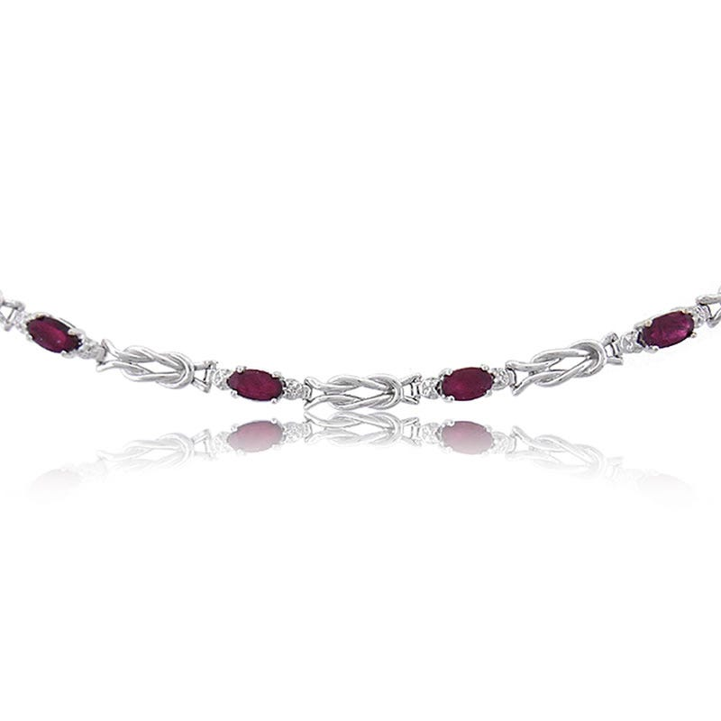 Red Ruby Oval White Gold Bracelet