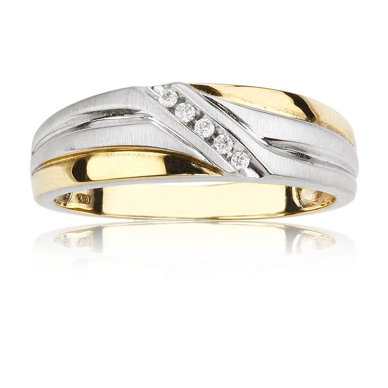 Men's 10K Yellow & White Gold Diamond Ring