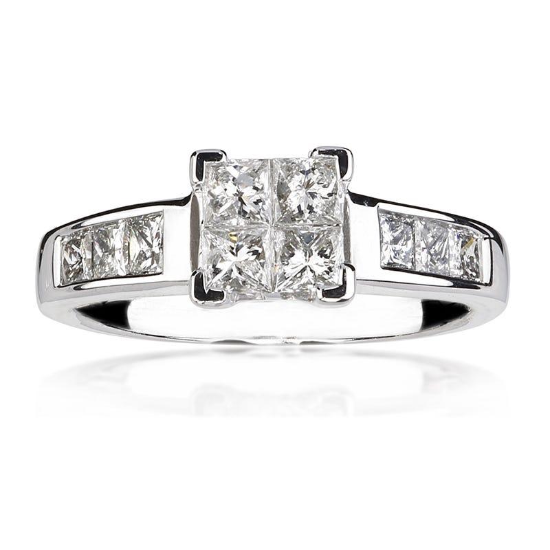 Legend. 14K White Gold  1ct. Princess-Cut Diamond Engagement Ring