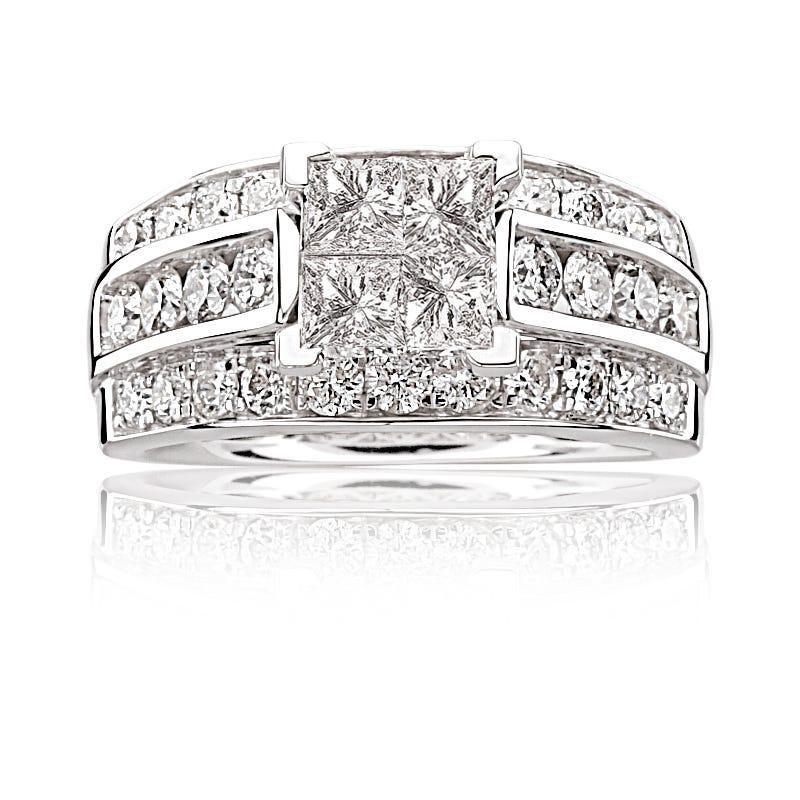 Emma. Diamond 2+ct. Princess Quad-Set Diamond Engagement Ring in 14k White Gold