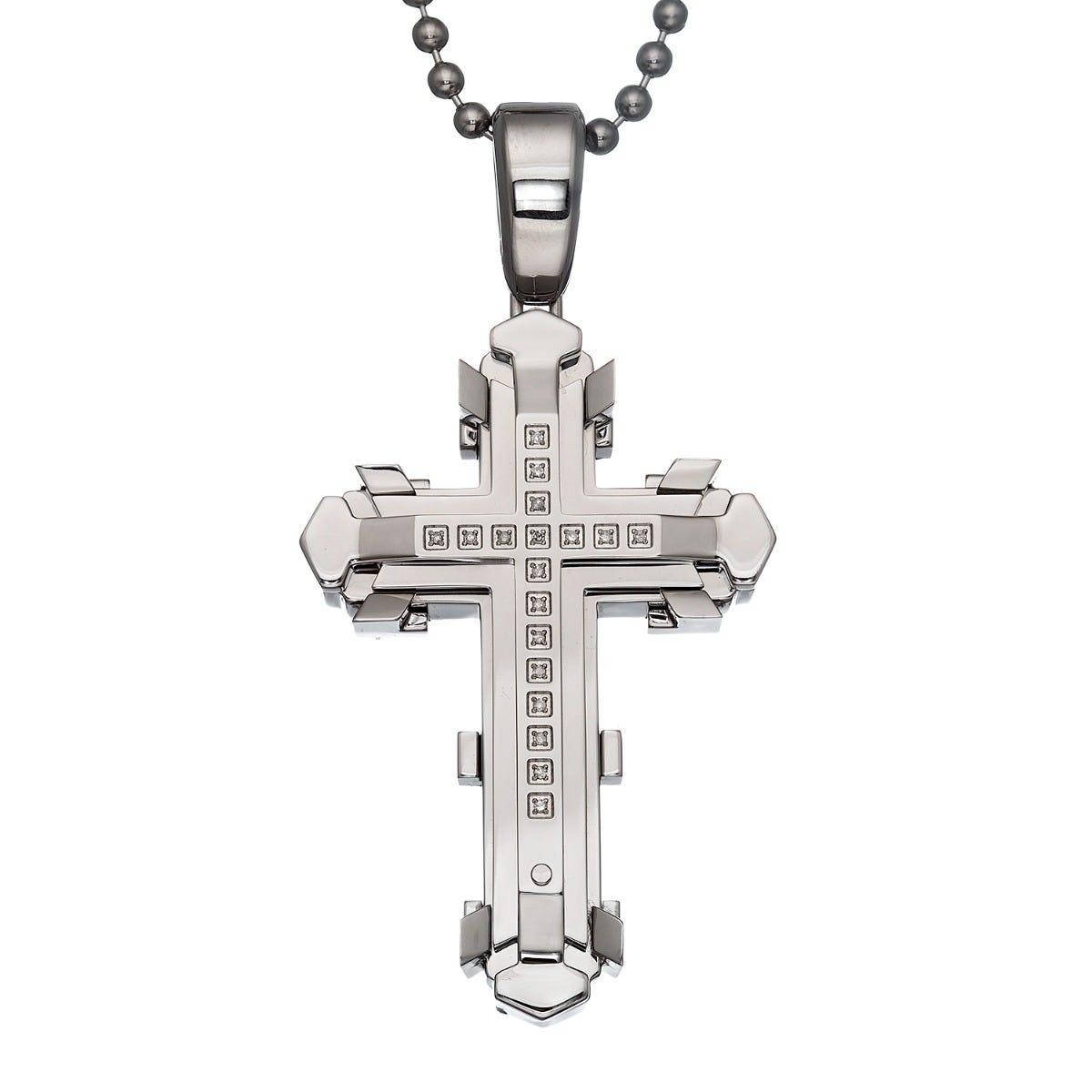 Black & Blue Diamond Uptown Cross 60MM Necklace
