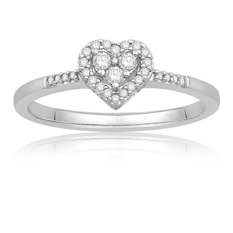 Diamond Heart Frame Promise Ring in 10K White Gold