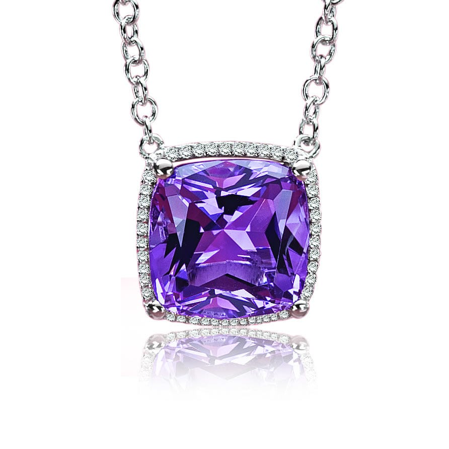 Purple Amethyst Diamond Pendant 18