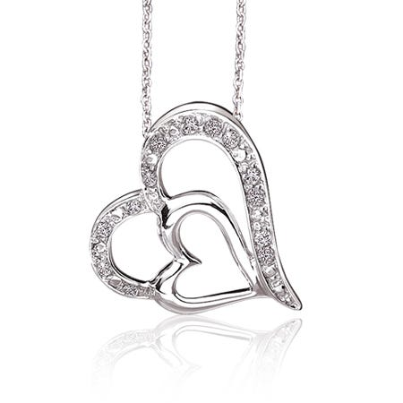Double Diamond Heart Pendant in Sterling Silver