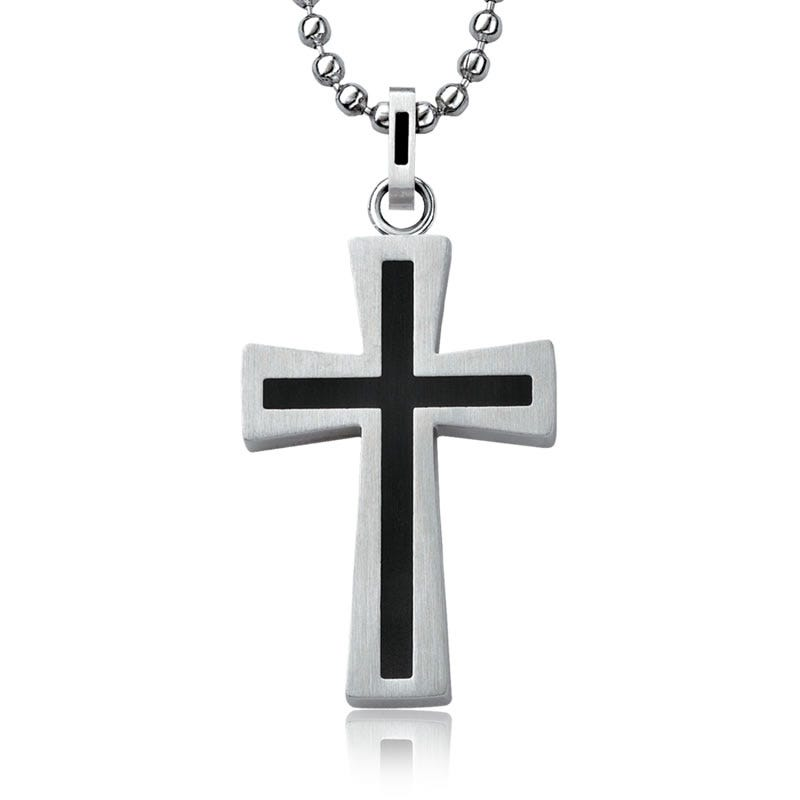 Stainless Steel & Black Ion Plated Cross Pendant