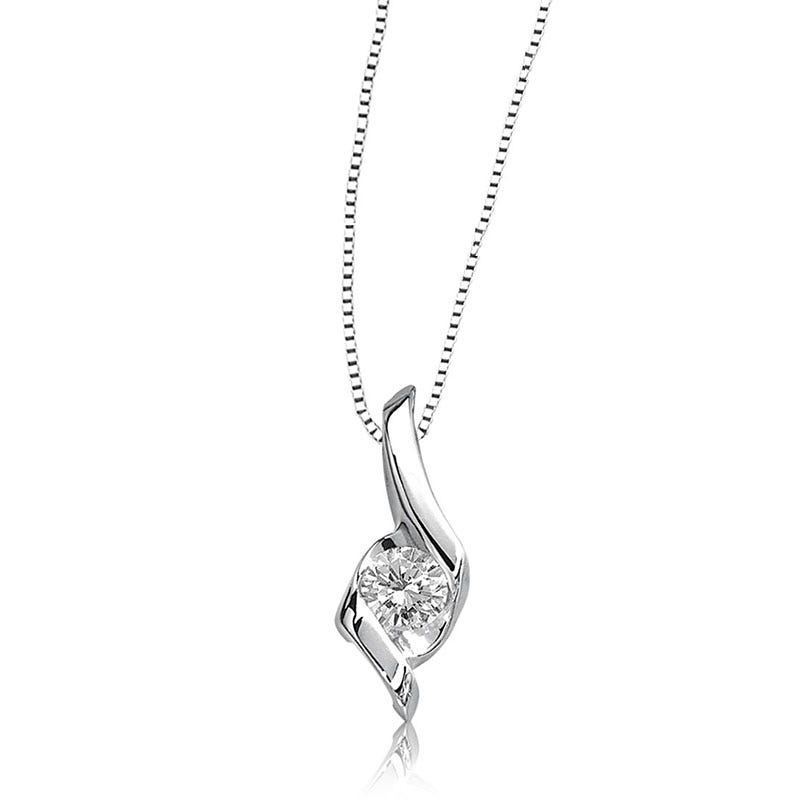 Sirena Diamond 1/12ct. Solitaire Pendant in 14k White Gold