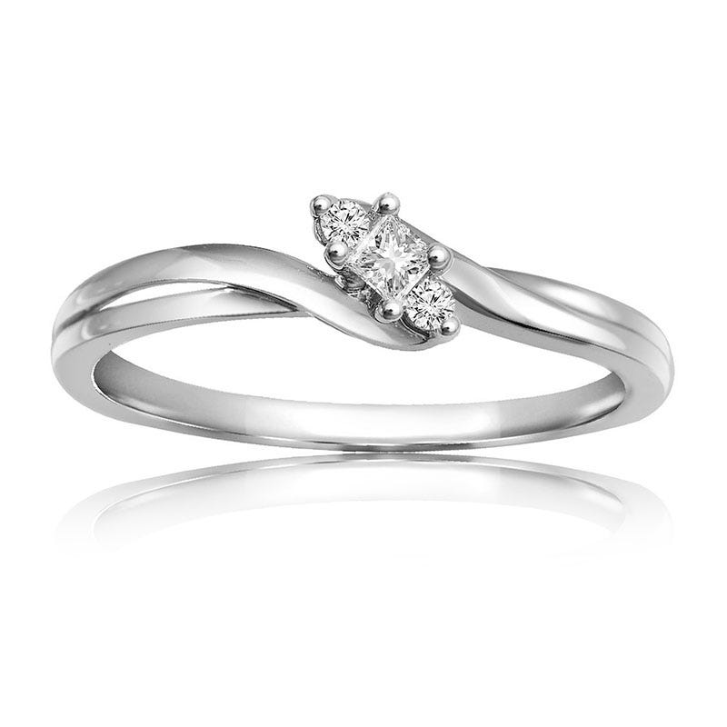 Diamond 3-Stone Adore Ring in 10k White Gold
