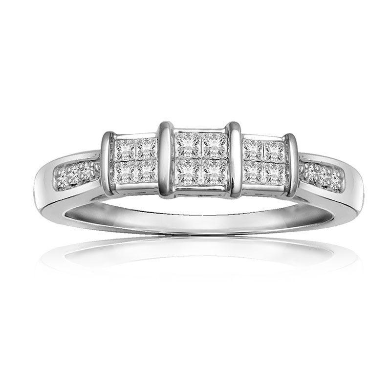 Diamond 3-Quad Cluster Promise Ring in 10k White Gold