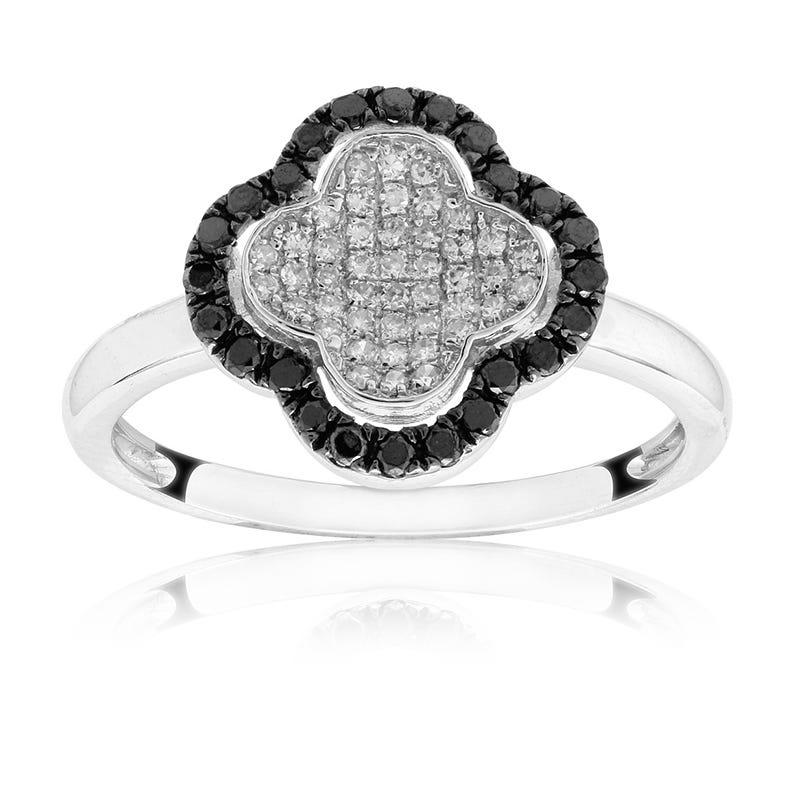 Genuine Black & White Diamond Clover Ring
