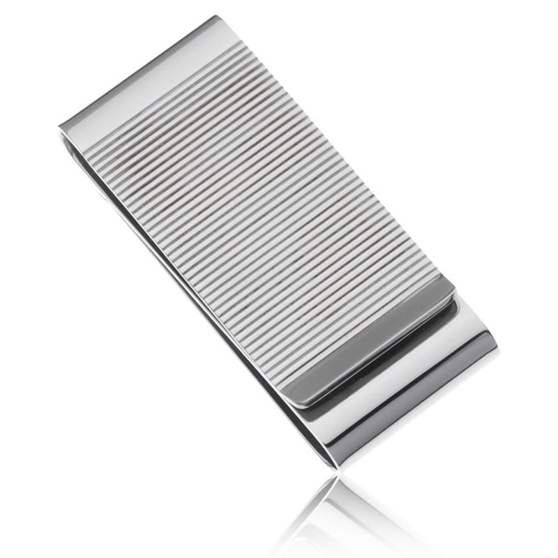 White Metal Double Fold Money Clip