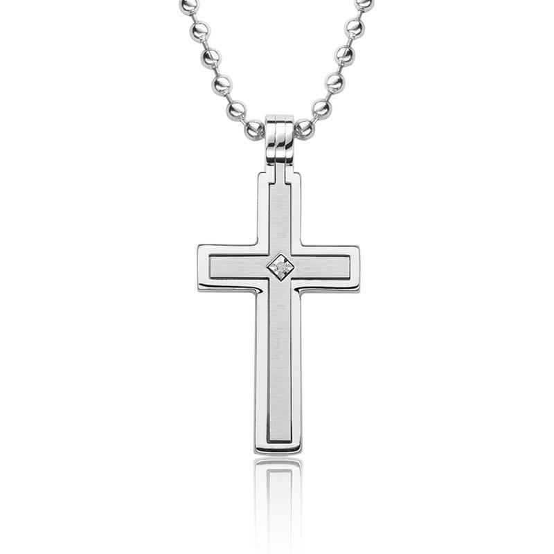 Stainless Steel Satin Diamond Cross
