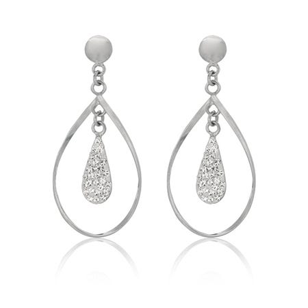 Crystal Freeform Dangle Earrings in Sterling Silver