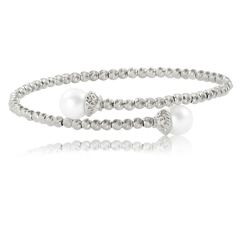Imperial Pearl Freshwater Pearl & Diamond Cut Beaded Bangle