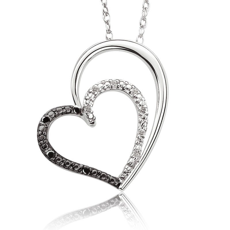 Exclusively Ours Black & White Diamond Double Heart Pendant in Sterling Silver