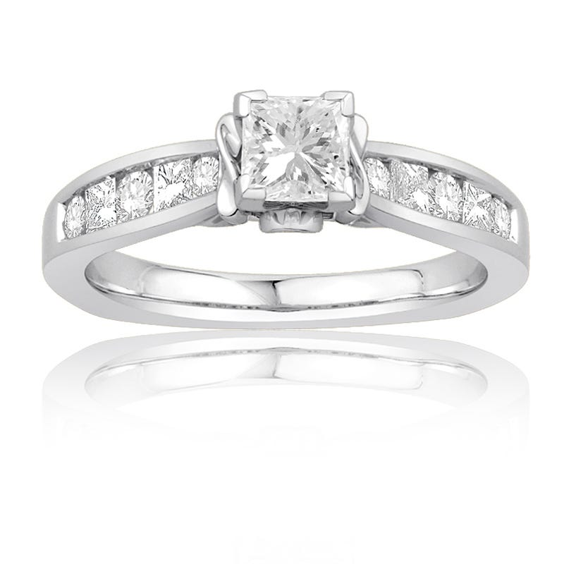 Ecoura 1ct. Princess-Cut Diamond Engagement Ring in 14K White Gold