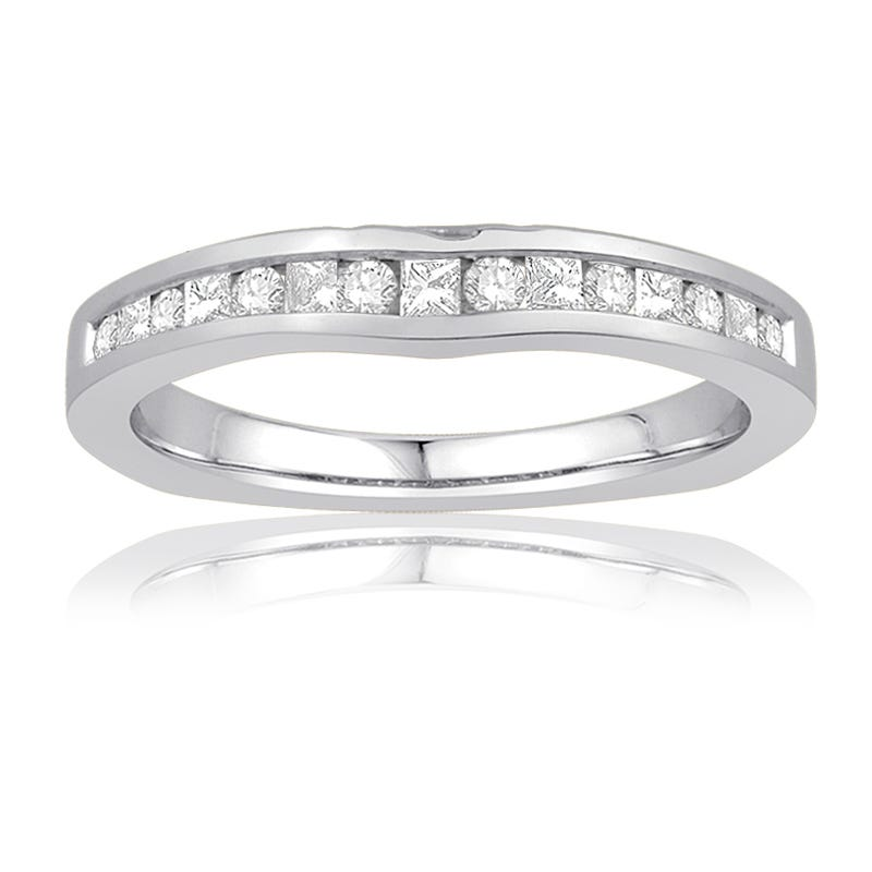 Ecoura Princess & Round Diamond Wedding Band