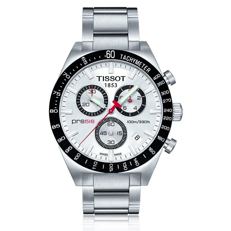 Tissot Prs 516 Men'S Silver Quartz Chronograph Steel Watch