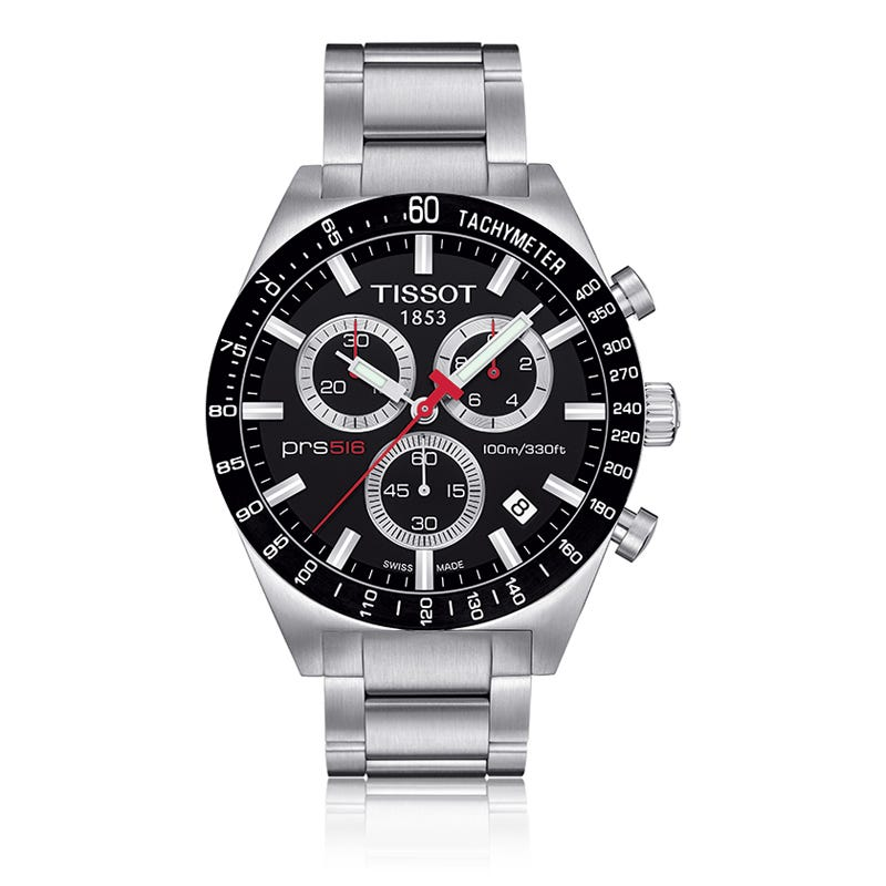Tissot Prs 516 Men'S Black Quartz Chronograph Sport Watch