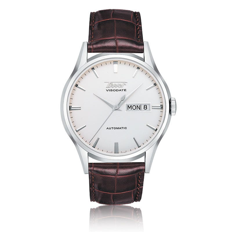 Tissot Heritage Visodate Men'S Silver Automatic Brown Leather Strap Watch