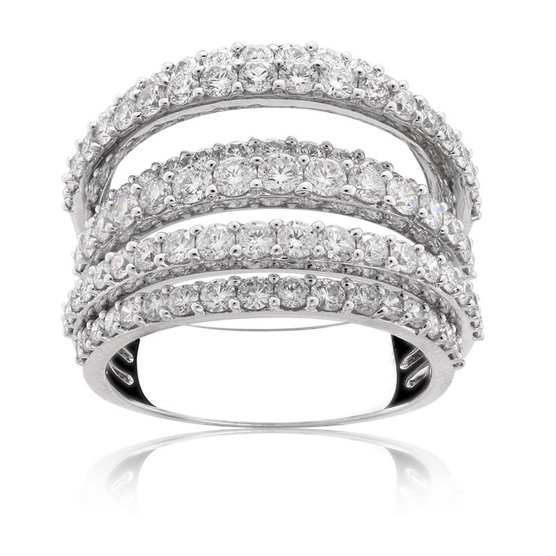 Diamond Seven-Row 3ctw. Ring in 14k White Gold