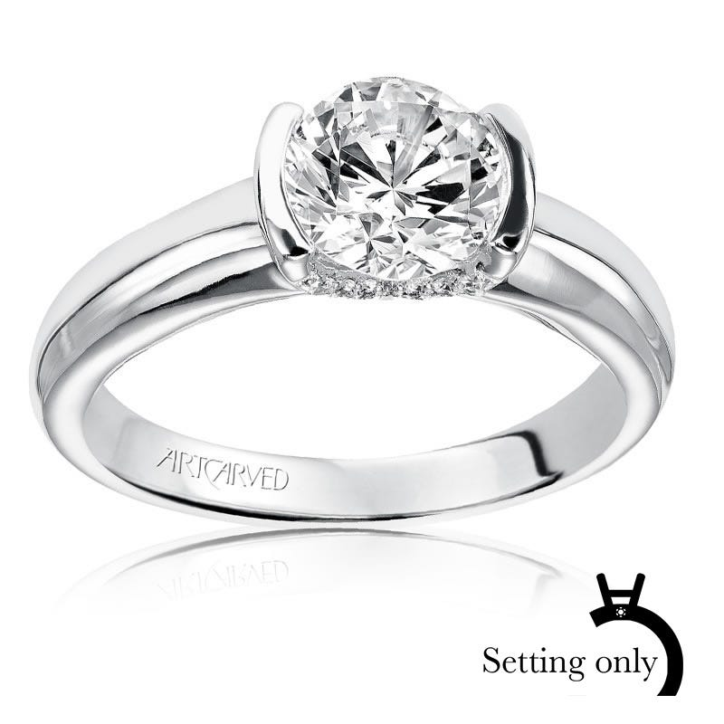 Rachel. Tension-Set Diamond Solitaire Engagement Setting